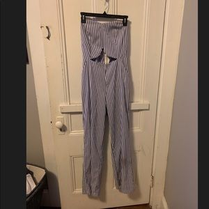 Blue and white Stripped Jumpsuit